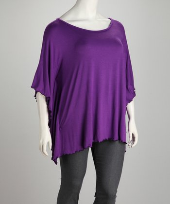 Purple Plus-Size Dolman Tunic