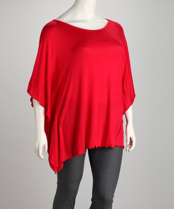 Red Plus-Size Dolman Tunic