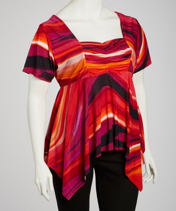 Red & Fuchsia Ruched Sidetail Top - Plus