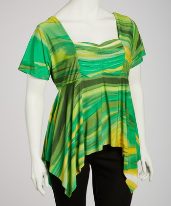 Lime & Yellow Ruched Sidetail Top - Plus