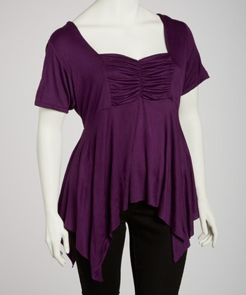 Purple Ruched Sidetail Top - Plus