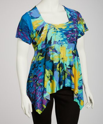 Blue Watercolor Square Neck Sidetail Top - Plus