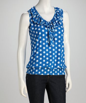 Blue Polka Dot Ruffle Top