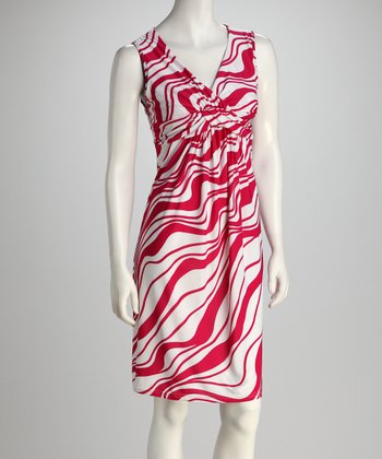 Red & White Wavy Stripe Knot-Front Dress