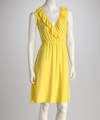 Yellow Surplice Ruffle Dress