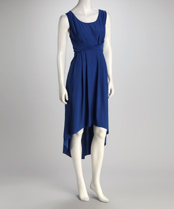Blue Scoop Neck Hi-Low Dress
