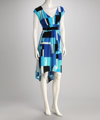 Blue Geometric Hi-Low Dress