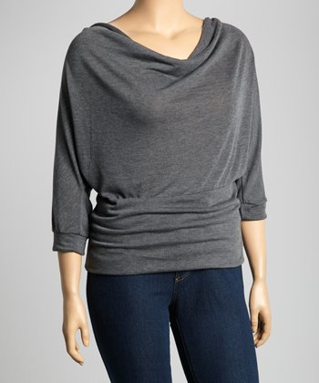 Charcoal Drape Dolman Top - Plus