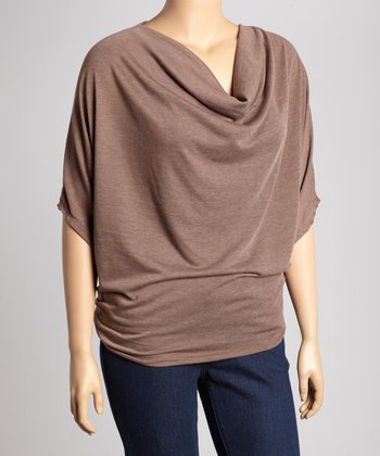 Brown Drape Cape-Sleeve Top - Plus