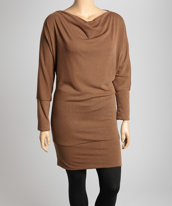 Brown Dolman Dress - Plus