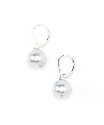 Gray Pearl & Silver Drop Earrings