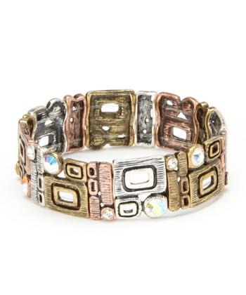 Burnished Tricolor Sparkle Stretch Bracelet