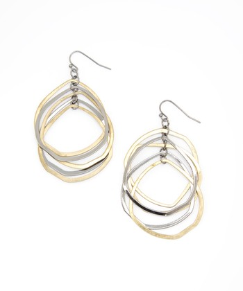 Matte Gold & Silver Loop Drop Earrings