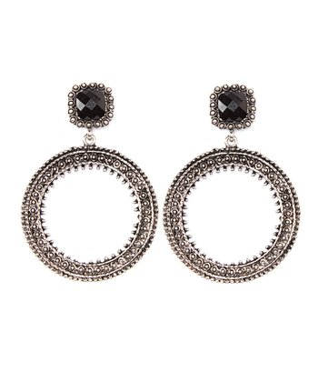 Antique Silver & Jet Circle Drop Earrings