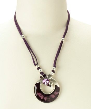 Silver & Purple Circle Pendant Necklace