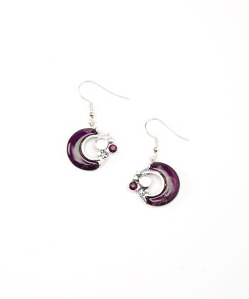Silver & Purple Circle Drop Earrings