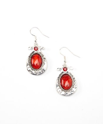 Silver & Ruby Oval Drop Earrings