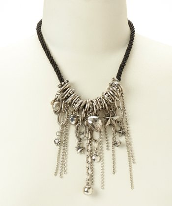 Silver & Black Chain Bib Necklace