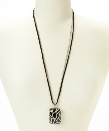 Silver & Black Sparkle Pendant Necklace