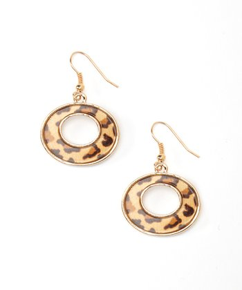 Gold & Leopard Cutout Drop Earrings
