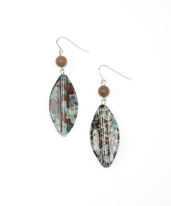 Brown & Gray Leaf Drop Earrings