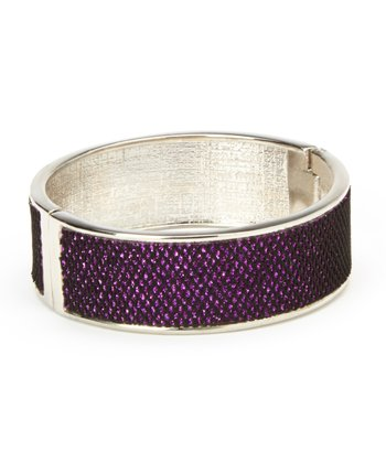 Silver & Purple Glitter Mesh Bangle