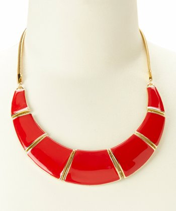 Gold & Red Crescent Bib Necklace