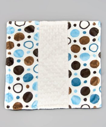 Brown & Blue Circle Minky Dot Itty-Bitty Blankie