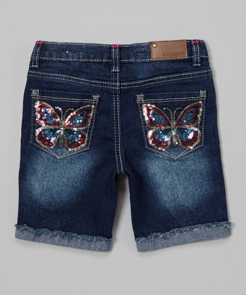 Blueberry Cream Rock Star Butterfly Bermuda Shorts - Girls