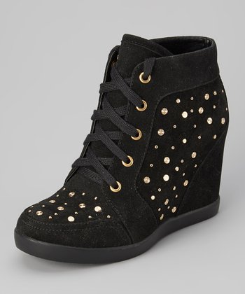 Black Studded Frisco Wedge Sneaker