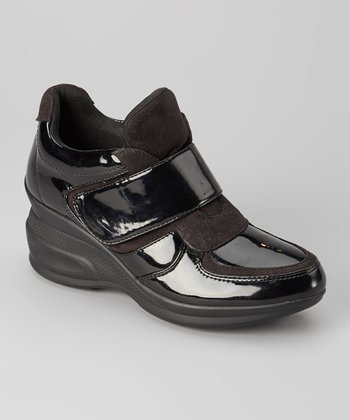 Black Patent Trapeze Wedge Sneaker
