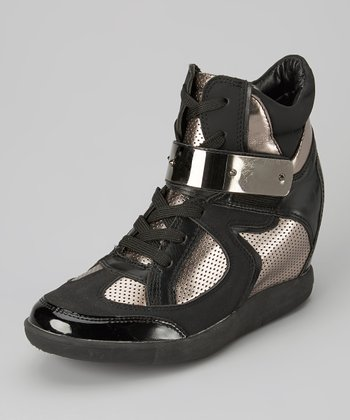 Black & Chrome Mesh Cyclone Hi-Top Wedge Sneaker