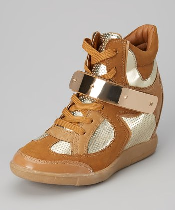 Tan & Chrome Mesh Cyclone Hi-Top Wedge Sneaker