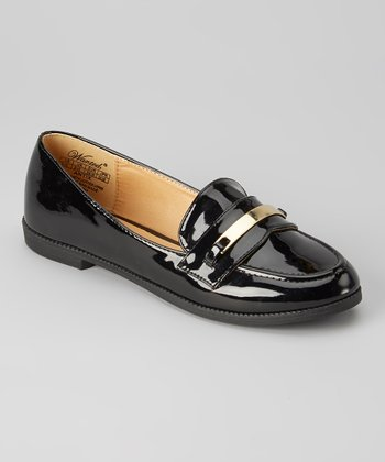 Black & Gold Patent Antix Loafer