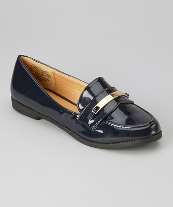 Navy & Gold Patent Antix Loafer