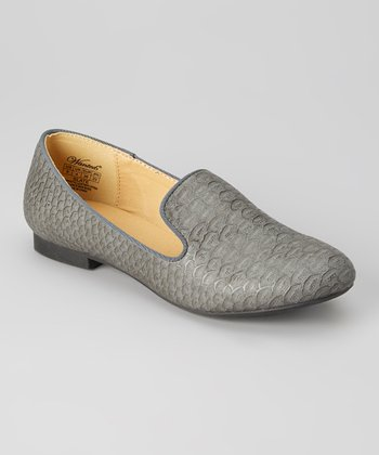 Gray Croco-Embossed Slate Loafer