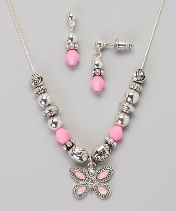 Pink Butterfly Necklace & Earrings
