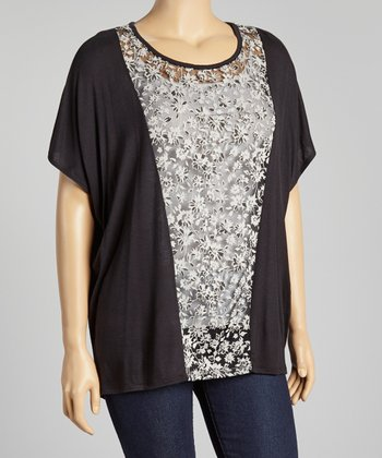 Black & White Floral Panel Top - Plus