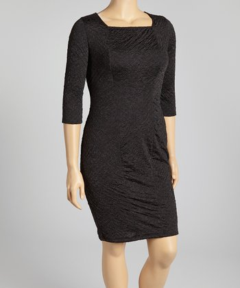 Black Three-Quarter Sleeve Dress - Plus