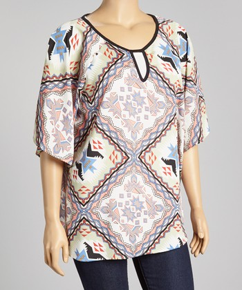 Sage & Blue Tribal Diamond Top - Plus
