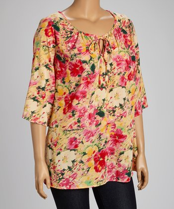 Pink Floral Peasant Top - Plus