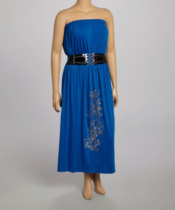 Royal Blue Belted Strapless Dress - Plus