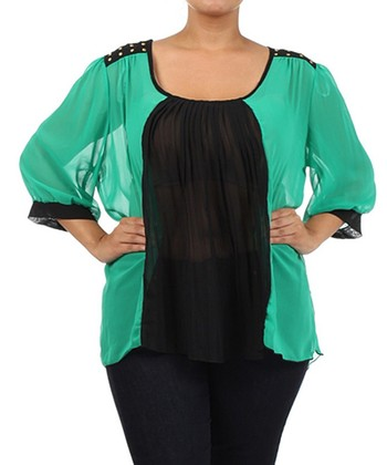 Green & Black Sheer Scoop Neck Top - Plus