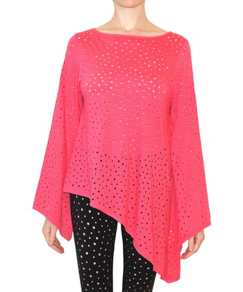 Hibiscus Speckle Cutout Loos Asymmetrical Top