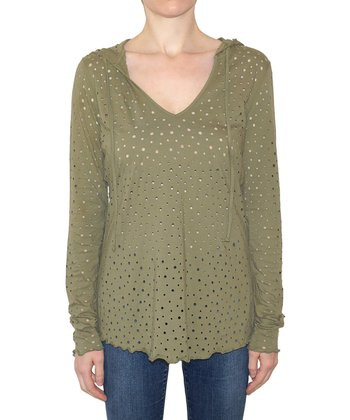 Moss Speckle Cutout Fiona Hooded Top