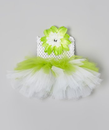 Apple Green & White Flower Tutu Dress - Infant, Toddler & Girls