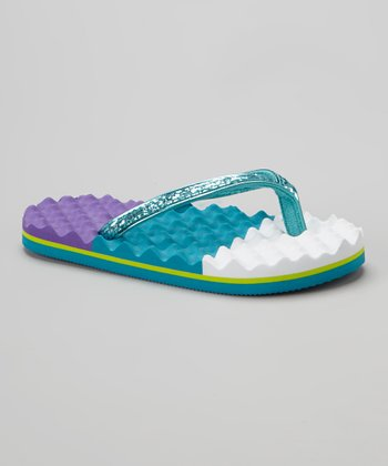 Cool Blue Color Block Textured Flip-Flop