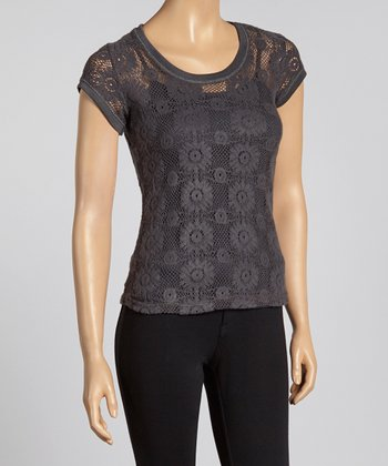 Charcoal Floral Lace Semi-Sheer Volatile Scoop Neck Top