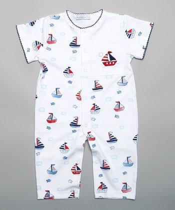 White Sailboat Playsuit - Infant