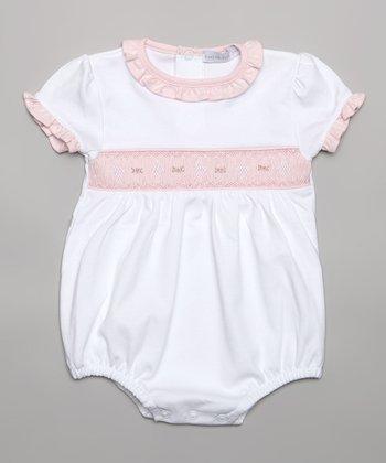 White & Pink Smocked Bodysuit - Infant